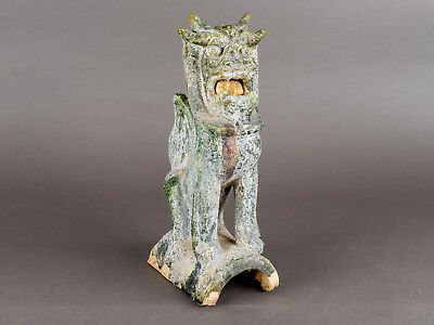 "Chinese Foo Dog Guardian Lion Green-Glazed Ceramic Weathered Patina 11.5"" ShiShi"