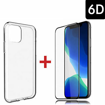 iPhone 11 Pro Max Hülle Handy Silikon Case + Panzer FULL COVER 6D GLAS Schutz 9H