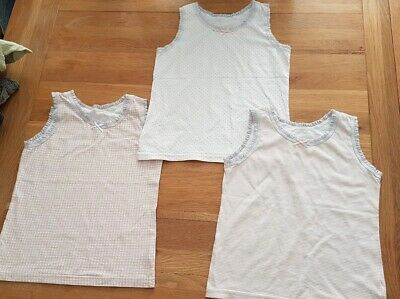 3x girls vests tops pink white & grey spotted striped heart pattern age 5-6 next