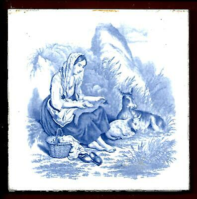 Antique Minton Romantic Rural Picture Tile C1890