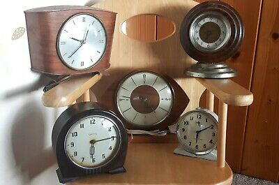 Vintage Antique Clock bundle Smiths Westclox foreign Bakelite alarm mantle wood