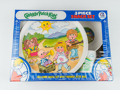 New Sealed Cabbage Patch Kids Snack Set 3 Piece Plate Bowl Cup Artisan Vintage