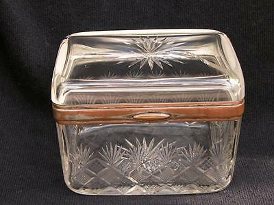 Antique Victorian Bohemian Cut Glass Crystal Box With Silver Plate Mount By Wmf
