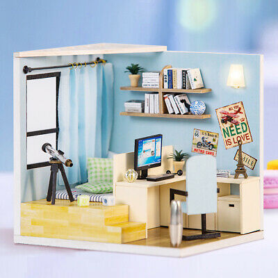 DIY Toy Doll House Miniature Wooden Puzzle Dollhouse kit with Furnitures Y9M3
