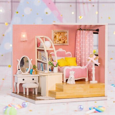 DIY Toy Doll House Miniature Wooden Puzzle Dollhouse kit with Furnitures T1K2
