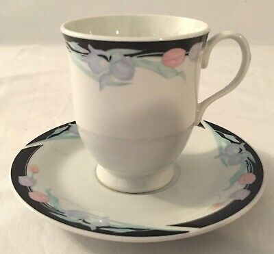 Set of 5 Excel Caravel Footed Cups and Saucers