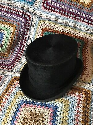 Vintage Christys Top Hat Black Size 7 1/4 59 Made In England Steampunk