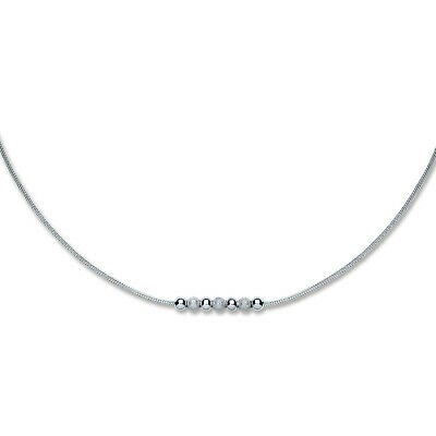 ETERNAL MOMENTS Sterling Silver 925 Rhodium Plated Mesh & Beads Necklace 18 Inch