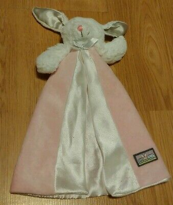 """Blankets And Beyond Pink White Bunny Lovey Security Blanket 12"""" GREAT CONDITION"""