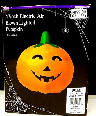 "Halloween Lighted Pumpkin Blowup Yard Decoration 47"" Electric Air Blown w/Stakes"