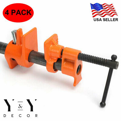 "( 4 Pack ) 1/2"" Wood Gluing Pipe Clamp Set Heavy Duty PRO Woodworking Cast Iron"