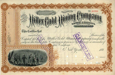 Miller Gold Mining Company of Nevada 1880's Stock Certificate #6000