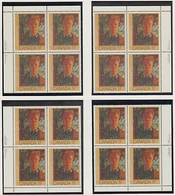 MATCHED SET OF PLATE BLOCKS 888MNH 17c x 16 CANADIAN PAINTER, FREDERICK VARLEY