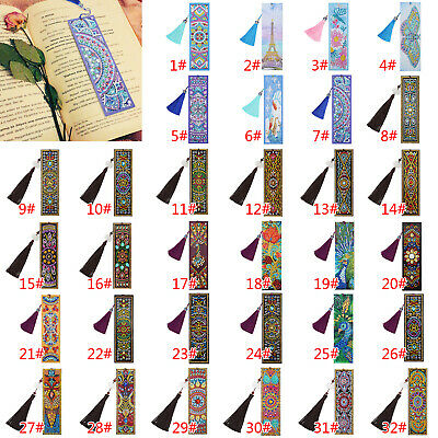 5D DIY Special Shaped Diamond Painting Leather Bookmark Tassel Book Marks Gift