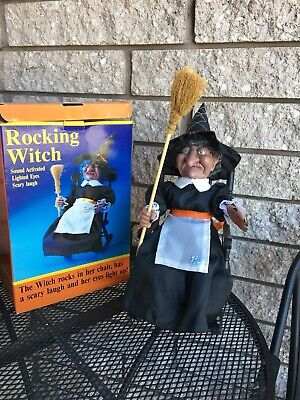 """Gemmy Rocking Witch Motion Activated Laughs Eyes Flash Chair Rocks 13"""" High NIB"""