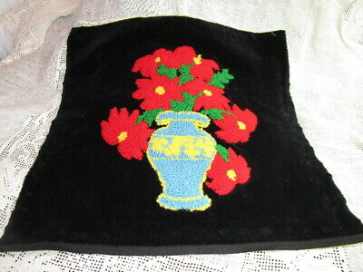 Vintage hand stitched PUNCH NEEDLE EMBROIDERY on velvet ~ FLOWERS ~ 18x18 ~ MINT