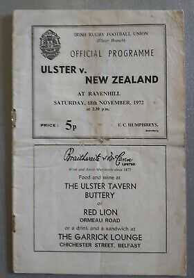 Ulster v New Zealand, 18th November 1972 - rugby programme.