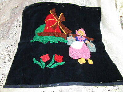 Vintage hand stitched PUNCH NEEDLE EMBROIDERY on velvet ~ TULIPS WINDMILL 18x18