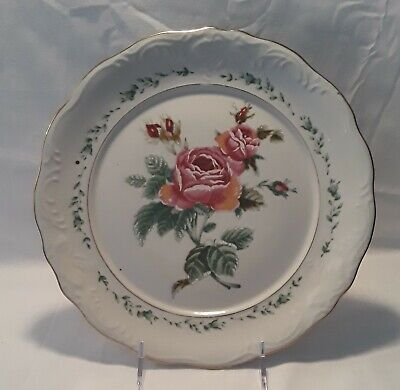 """Set of 4 Gibson Designs Victorian Rose 10¾"""" Dinner Plates"""