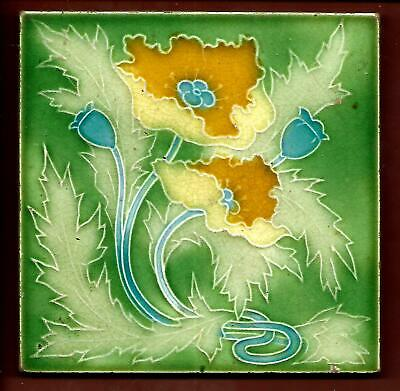 Moulded Art Nouveau Stylised Poppy Tile C1905