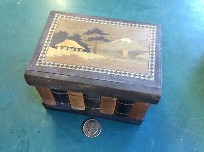 Antique Japanese Personal Puzzle Box Inlaid Wood Antique Himitsu-bako Marquetry