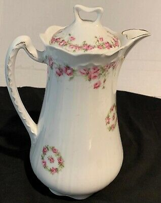 Vintage KPM Porcelain Chocolate Pot Teapot Pink Roses Made in Germany