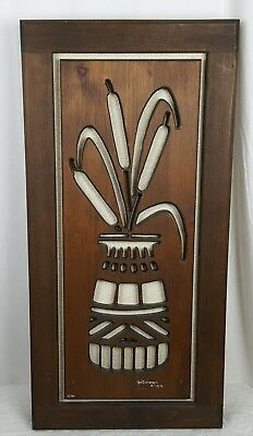VTG 1978 KEN DADDARIO Cat Tails In a Vase Wood Carving MCM Signed Dated Numbered