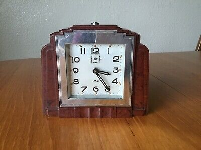 Jaz Bakelite Alarm Clock In An Art Deco Style, Fully Serviced.