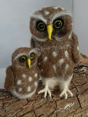 Owl Needle Felt Kit British Rare Breed Wool Unboxed