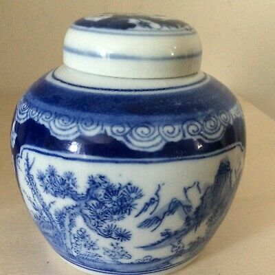 Chinese  Blue and white ginger jar with blossoms & mountain scenery