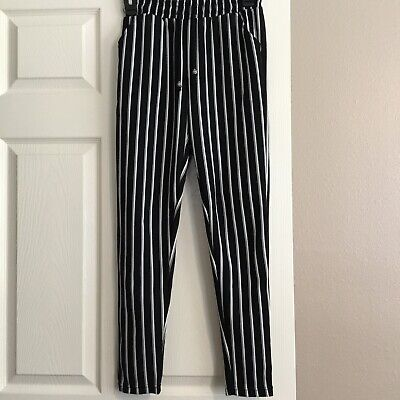 Planet B Striped Black And White Pants Size S with bags Long 3 ft