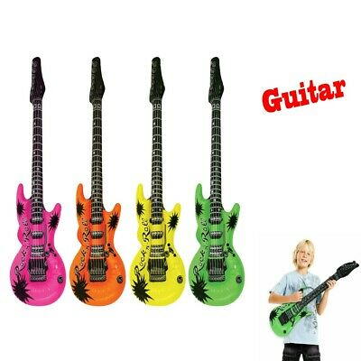 Pack of 4 Inflatable Guitar  Neon Musical Instrument Fancy Dress Party Acesso