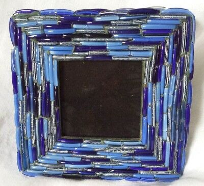 Clear Blue Glass Bead Fragments Square Picture Frame Easel TWO's Co India Hippie