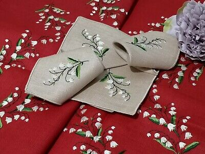 Vintage Unused Irish Linen Tablecloth - Hand Embroidered Lily Of The Valley Naps