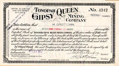 Tonopah Gipsy Queen Mining Company of Nevada 1923 Stock Certificate #4342