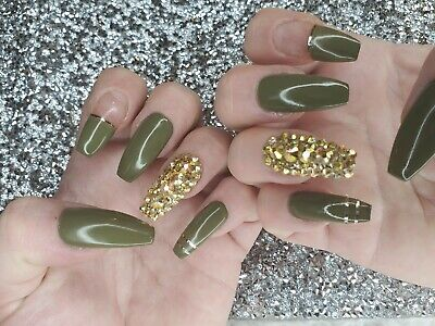 Army green & Gold chrome metallic Bling press on coffin nails w/ gold crystals