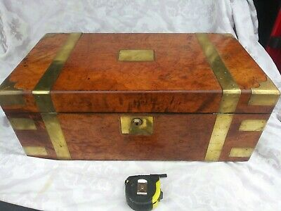 ANTIQUE 1873 AP smith TRAVEL LAP DESK BURL WALNUT  SLOPE BRASS Bound w drawer