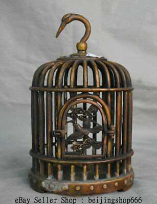 """9.6"""" Rare Old Chinese Bronze Copper Dynasty birdcage bird cage Wall Hang Statue"""