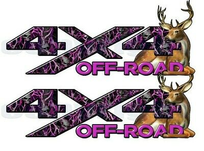 4X4 OFF ROAD Truck Decal with Deer Buck Skull and Camouflage 2 pack a003BU