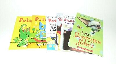 Lot of 6 Children BOOKS Pete the Cat, Splat the Cat, SkippyJon Jones
