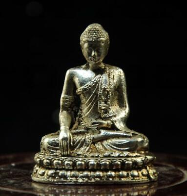 chinese old  copper-plating silver hand engraving Sakyamuni statue a01
