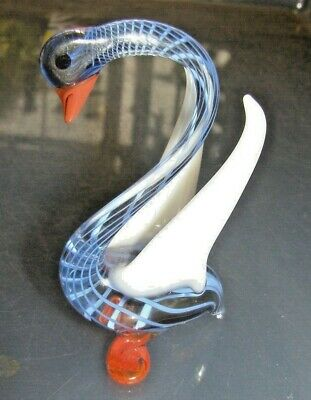 Beautiful  Murano Glass Animal Bird Swan Blue Stripes Perfect Condition