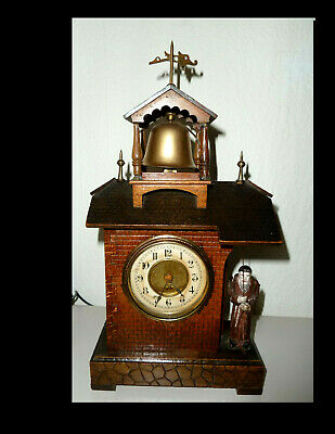 Great Rarity !! Alarm clock from HAC with Mönch-Automat ** Bell Ringing Monk  **