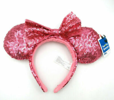 Disney Parks Party Pink Bow Sequins Minnie Mouse Ears New Mickey Cos Headband