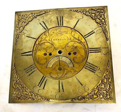 Antique Brass Grandfather Longcase Clock Dial by Emanuel Burton, Kendal