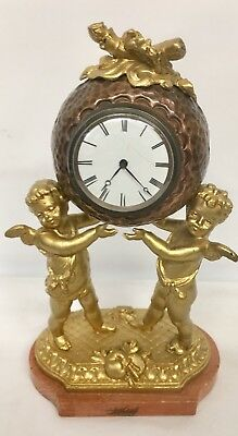 Antique Gilded Cherub Clock Marble Based Ho2