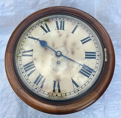 "Antique 12"" Fusee Mahogany Wall Clock"