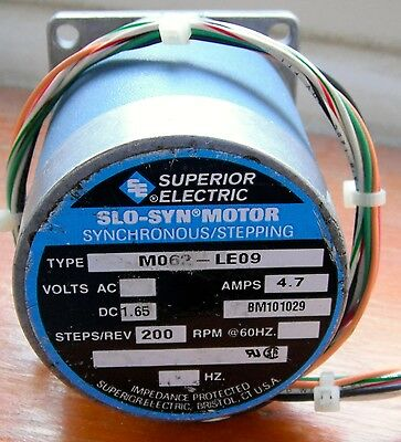 Superior Electric Slo-Syn Stepping/ Stepper Motor MO62-LE09 Used Tested