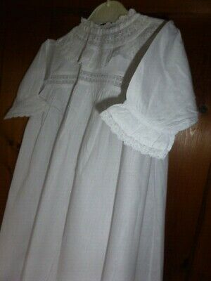 Antique Victorian White Cotton & Lace Full Length Christening Dress