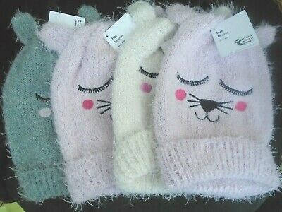 WOMENS GIRLS SOFT FLUFFY WARM - CUTE CAT BEANIE HAT - PINK , CREAM or GREY
